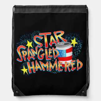 Star Spangled Hammered 4th of July Drawstring Backpack