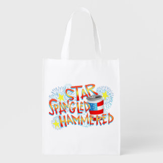 Star Spangled Hammered 4th of July Grocery Bag