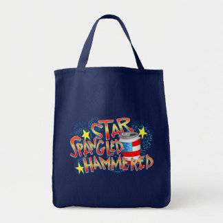 Star Spangled Hammered 4th of July Tote Bag