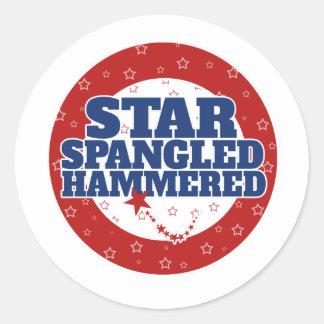 Star spangled hammered classic round sticker