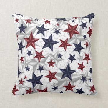 USA Themed Star Spangled - red, white, blue, gray Throw Pillow