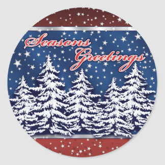 Star Spangled Seasons Greetings Round Sticker