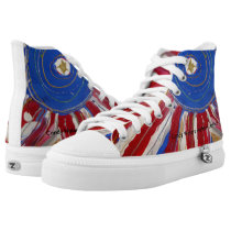 """Star-Spangled Sun"" by Candy Waters Autism Artist High-Top Sneakers"