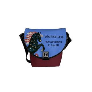 Star Spangled Wild  Horse - Mini Messenger Bag