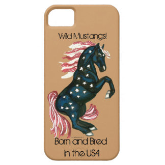 Star Spangled Wild Mustang Horse - IPhone Case