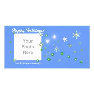 Star Sparkle Blue Holidays Customized Photo Card