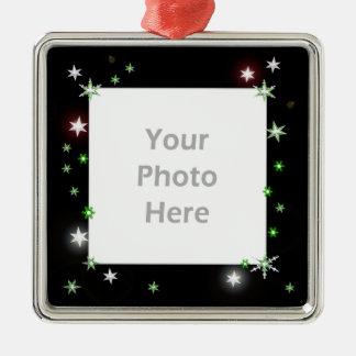 Star Sparkle Holiday Black (photo frame) Metal Ornament