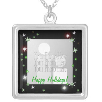 Star Sparkle Holiday Black (photo frame) Silver Plated Necklace