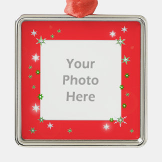 Star Sparkle Holiday Red (photo frame) Metal Ornament