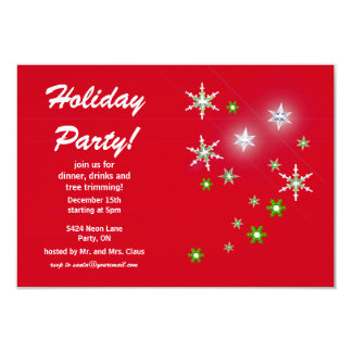 Star Sparkle Red Holiday Party Card