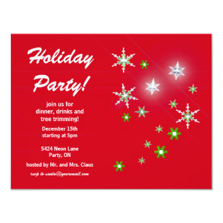 Star Sparkle Red Holiday Party Custom Announcement