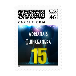 Star Spotlight Yellow Quinceanera Stamp