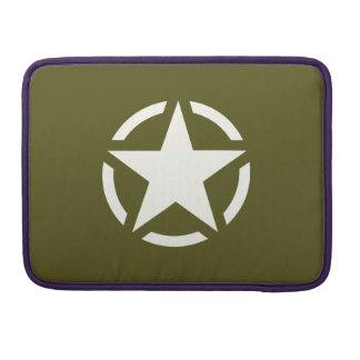 Star Stencil Classic on Khaki Green Sleeves For MacBooks