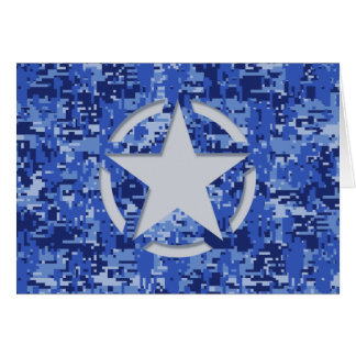 Star Stencil Retro Navy Blue Camouflage Card
