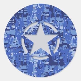 Star Stencil Retro Navy Blue Camouflage Classic Round Sticker