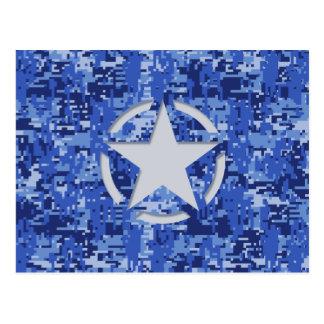 Star Stencil Retro Navy Blue Camouflage Postcard