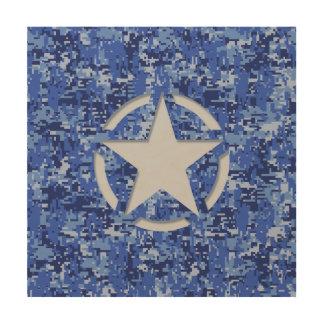Star Stencil Retro Navy Blue Camouflage Wood Wall Decor