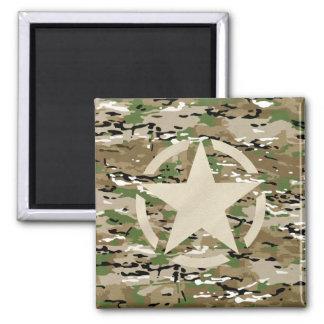 Star Stencil Vintage Camouflage Decor 2 Inch Square Magnet