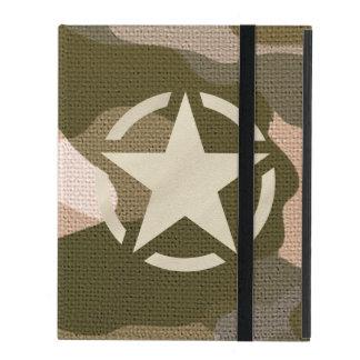 Star Stencil Vintage Decal Burlap Camo Style iPad Folio Cases