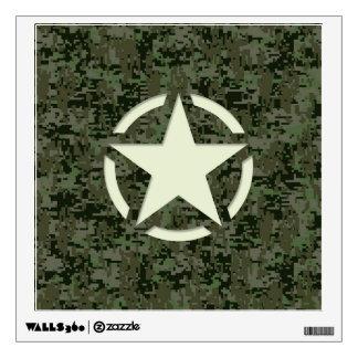 Star Stencil Vintage Decal Green Camouflage