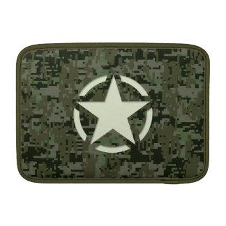 Star Stencil Vintage Decal Green Camouflage MacBook Sleeves