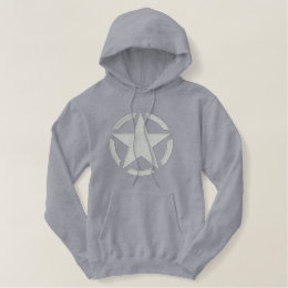 Star Stencil Vintage Decal Large Embroidery Embroidered Hoodie