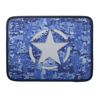 Star Stencil Vintage Decal Navy Blue Digital Camo Sleeves For MacBook Pro