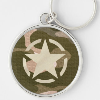 Star Stencil Vintage Decal on Camo Style Silver-Colored Round Keychain