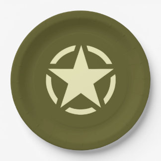 Star Stencil Vintage Decal on Camouflage Color Paper Plate