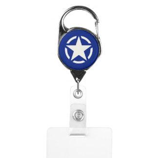 Star Stencil Vintage Decal on navy blue Badge Holder