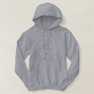 Star Stencil Vintage Decal Outline Embroidery Embroidered Hoodie