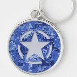 Star Stencil Vintage Jeep Decal Blue Digital Camo Key Chain