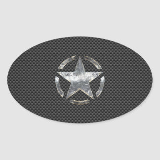 Star Stencil Vintage Jeep Decal Carbon Fiber Style Oval Sticker