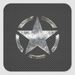 Star Stencil Vintage Jeep Decal Carbon Fiber Style Square Sticker
