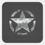 Star Stencil Vintage Jeep Decal Carbon Fiber Style Square Sticker
