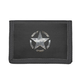 Star Stencil Vintage Jeep Decal Carbon Fiber Style Tri-fold Wallets