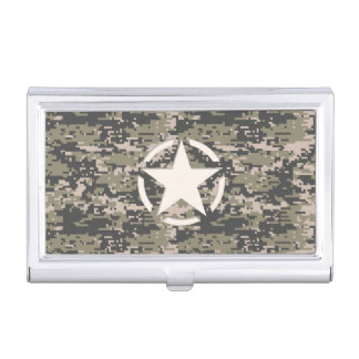 Star Stencil Vintage Jeep Decal Digital Camo Style Business Card Case