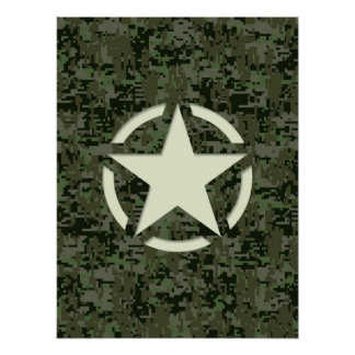 Star Stencil Vintage Jeep Decal Digital Camo Style Posters