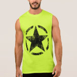 Star Stencil Vintage Jeep Decal Grunge Style Sleeveless Shirts
