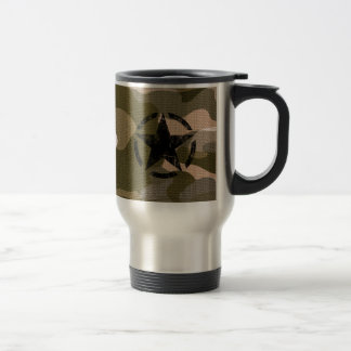 Star Stencil Vintage Jeep Decal on Camo Style 15 Oz Stainless Steel Travel Mug