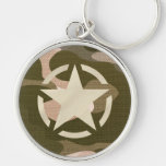 Star Stencil Vintage Jeep Decal on Camo Style Key Chains