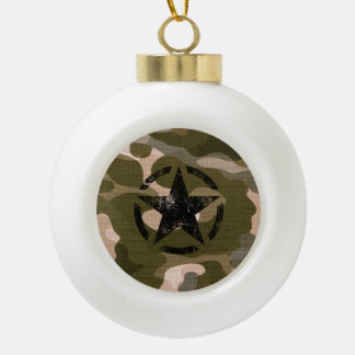 Star Stencil Vintage Jeep Decal on Camo Style Ornament
