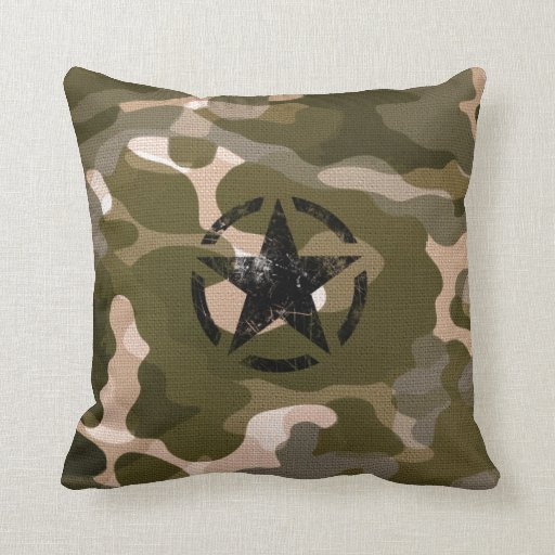 Throw Pillows Kmart : Star Stencil Vintage Jeep Decal on Camo Style Throw Pillow Zazzle