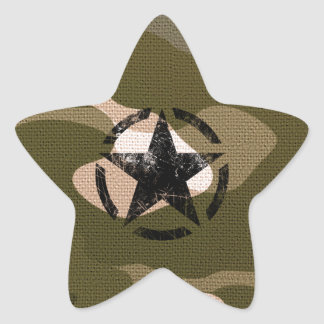 Star Stencil Vintage Jeep Decal on Camo Style Star Sticker