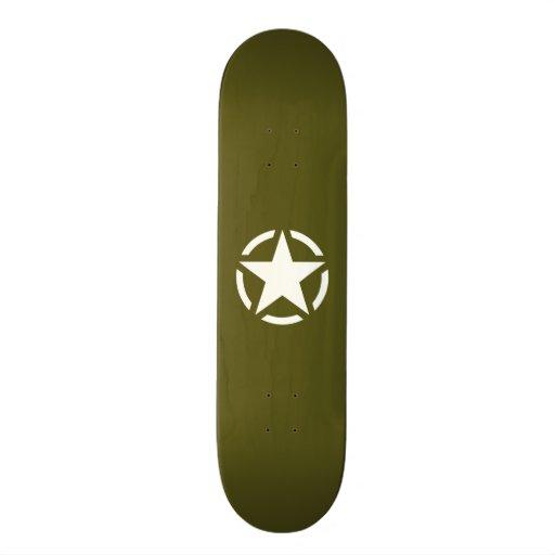 Star Stencil Vintage Jeep Decal on Kaki Green Skateboard
