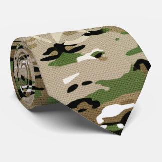 Star Stencil Vintage Khaki Decal on Camo Style Neck Tie