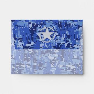 Star Stencil Vintage Navy Blue Digital Camo Envelope
