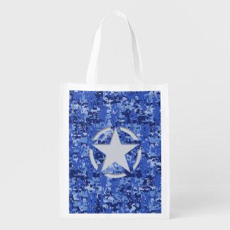 Star Stencil Vintage Navy Blue Digital Camo Reusable Grocery Bag