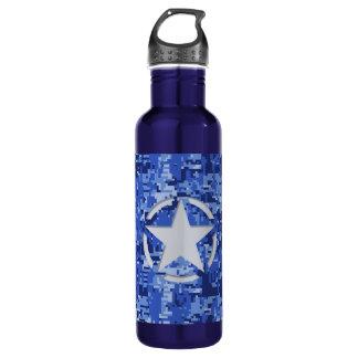 Star Stencil Vintage Navy Blue Digital Camo Water Bottle