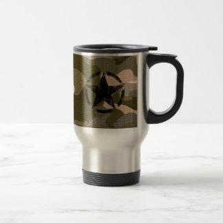 Star Stencil Vintage on Camouflage Travel Mug